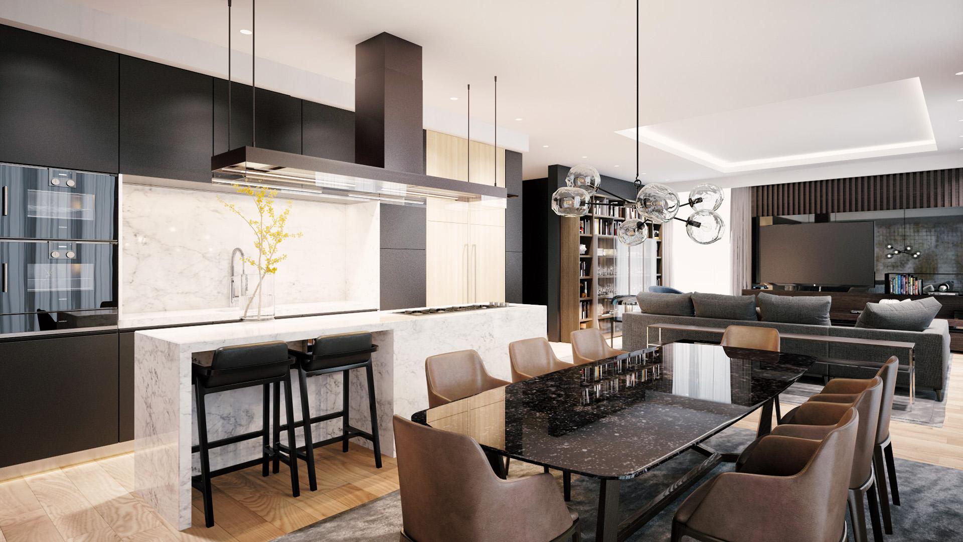Trpezarija i dnevna soba - prodaja stanova u luksuznom stambenom kompleksu Green Hill Dedinje.