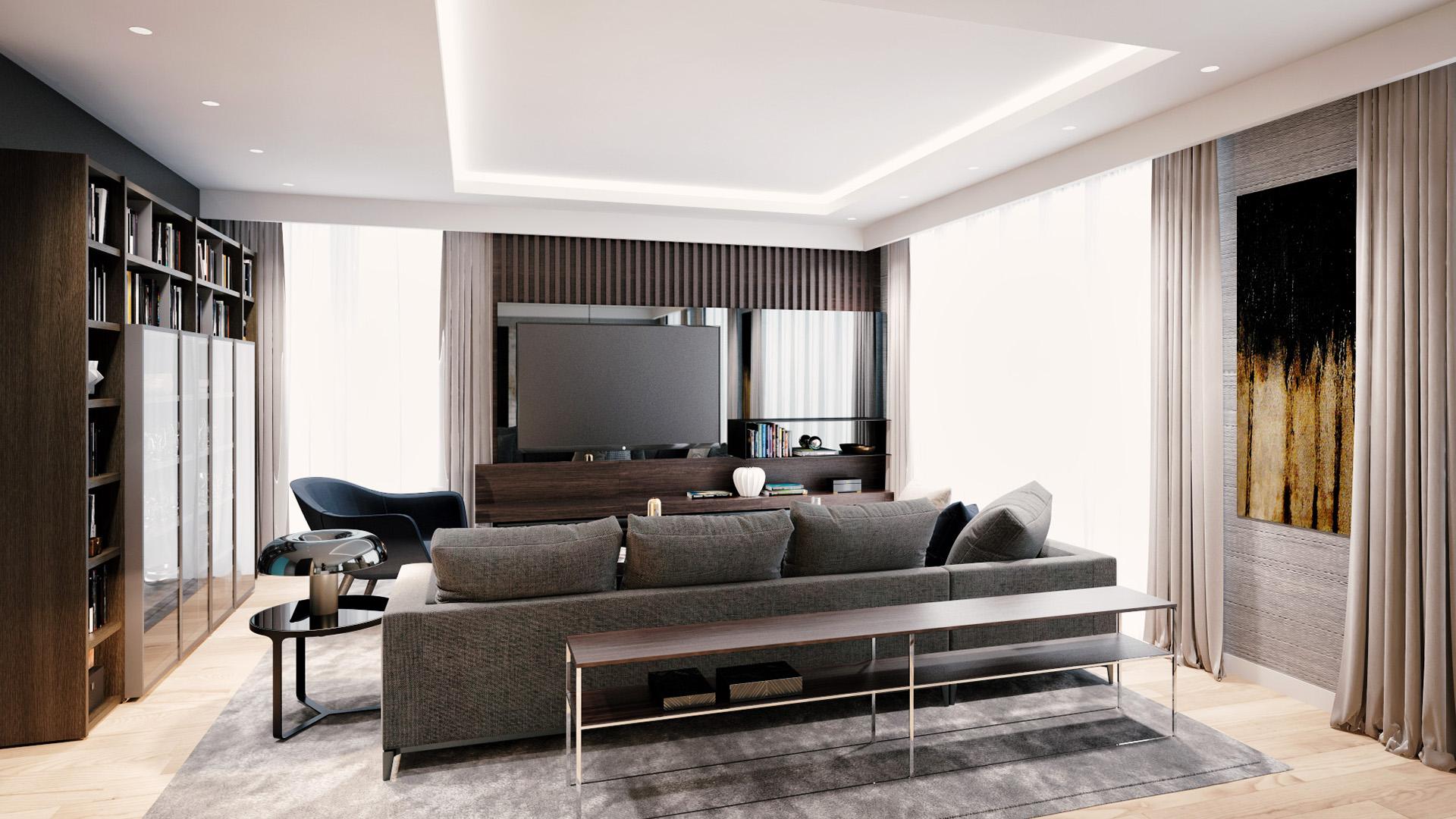 Dnevna soba u uzornom stanu - luksuzni stambeni kompleks Green Hill Dedinje.