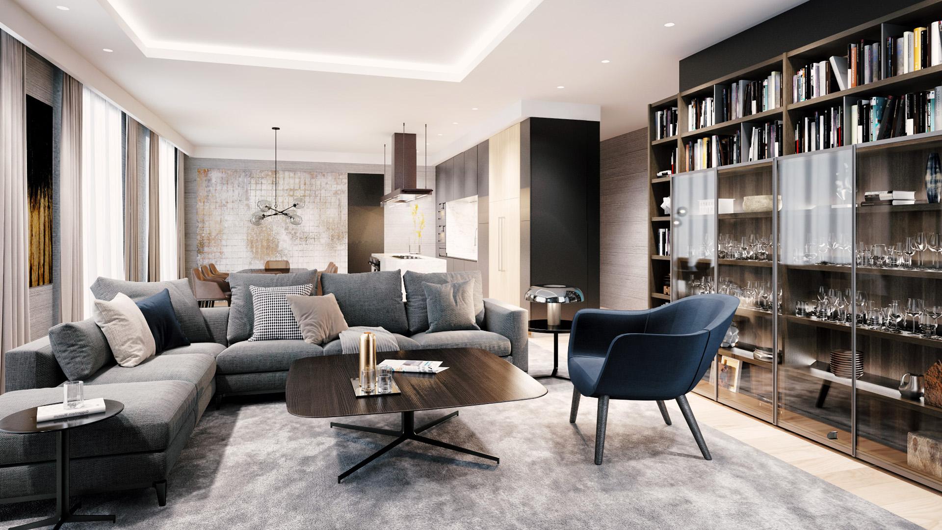 Dnevna soba - luksuzni stambeni kompleks Green Hill Dedinje.
