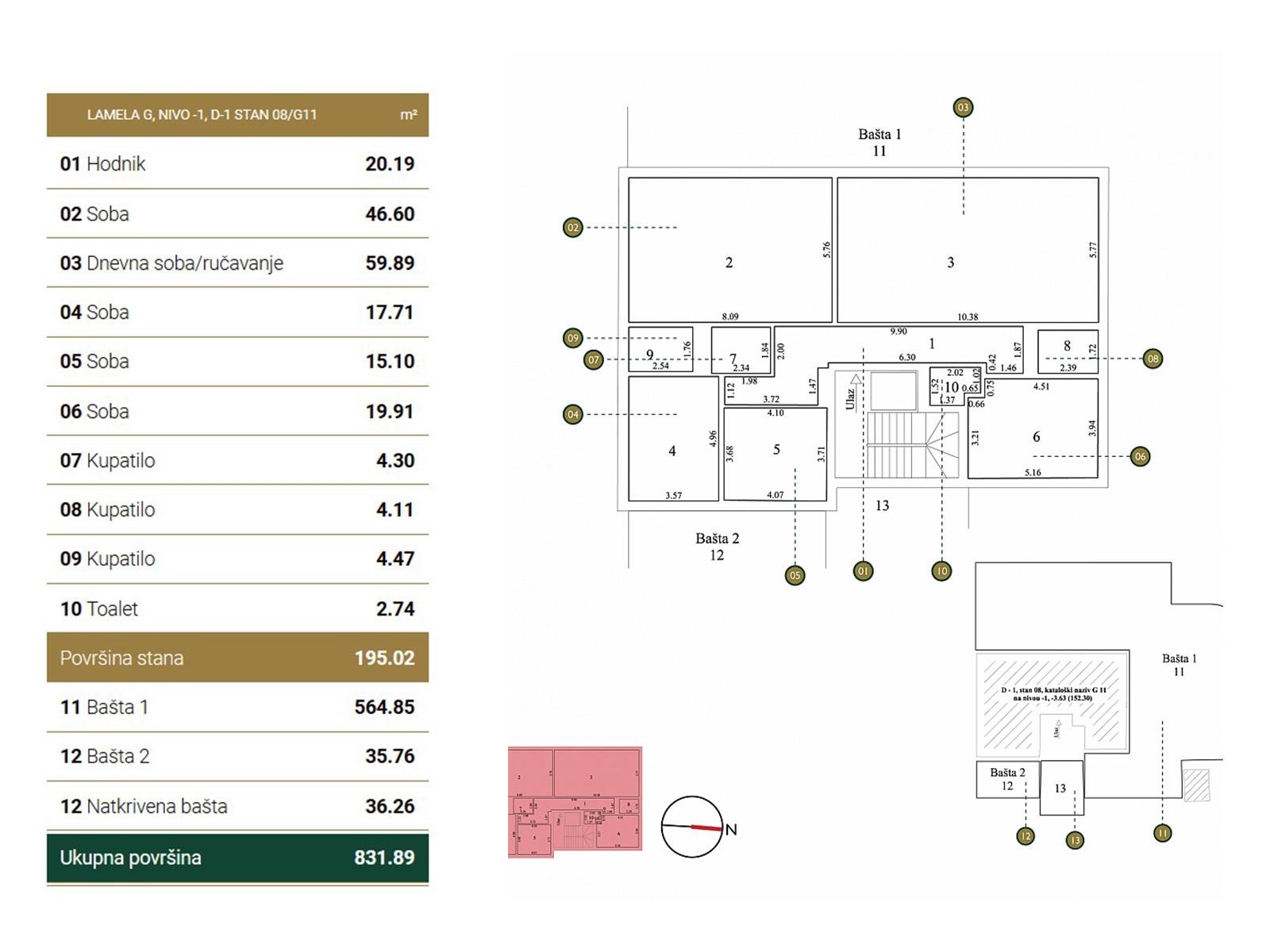 Osnova stana - Garden Vila G11.