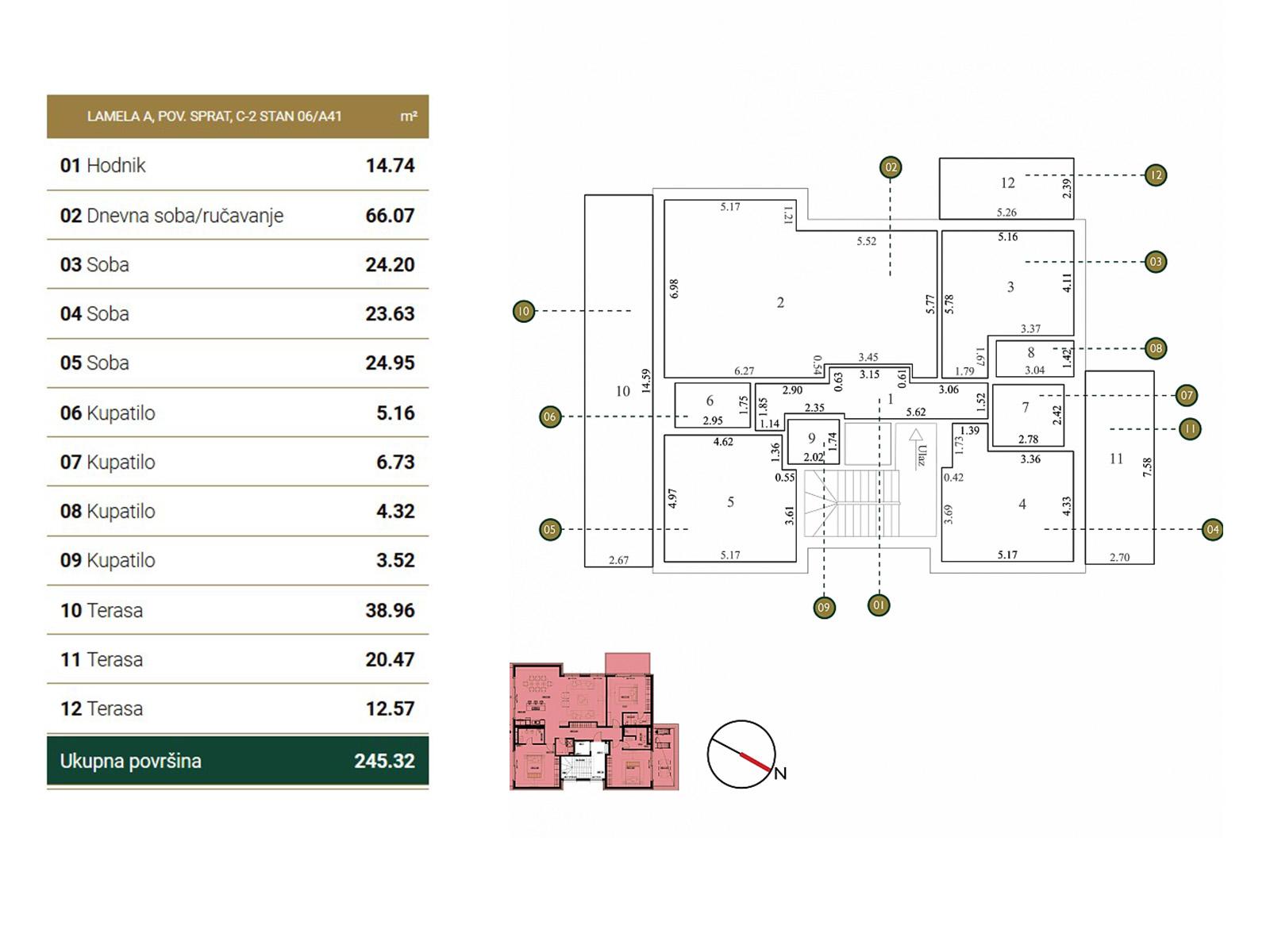 Osnova stana - Povučena etaža A41.