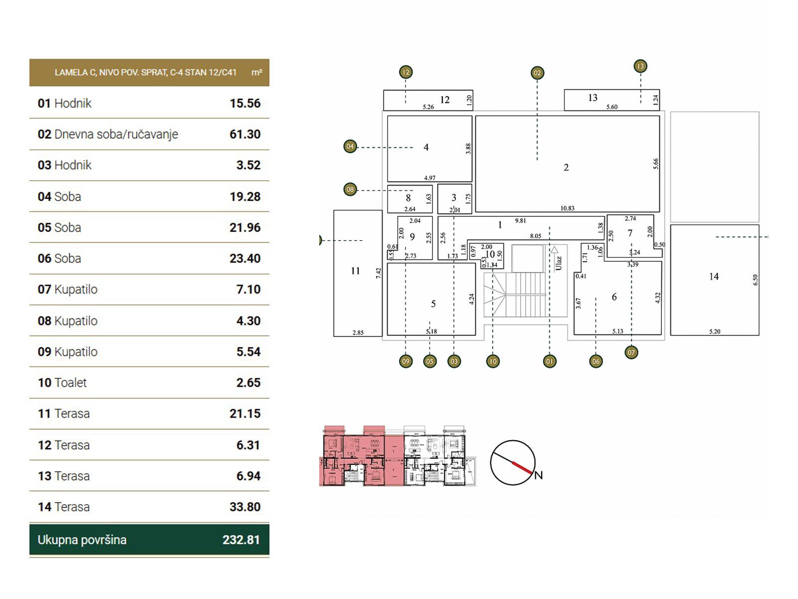 Osnova stana - Povučena etaža C41.