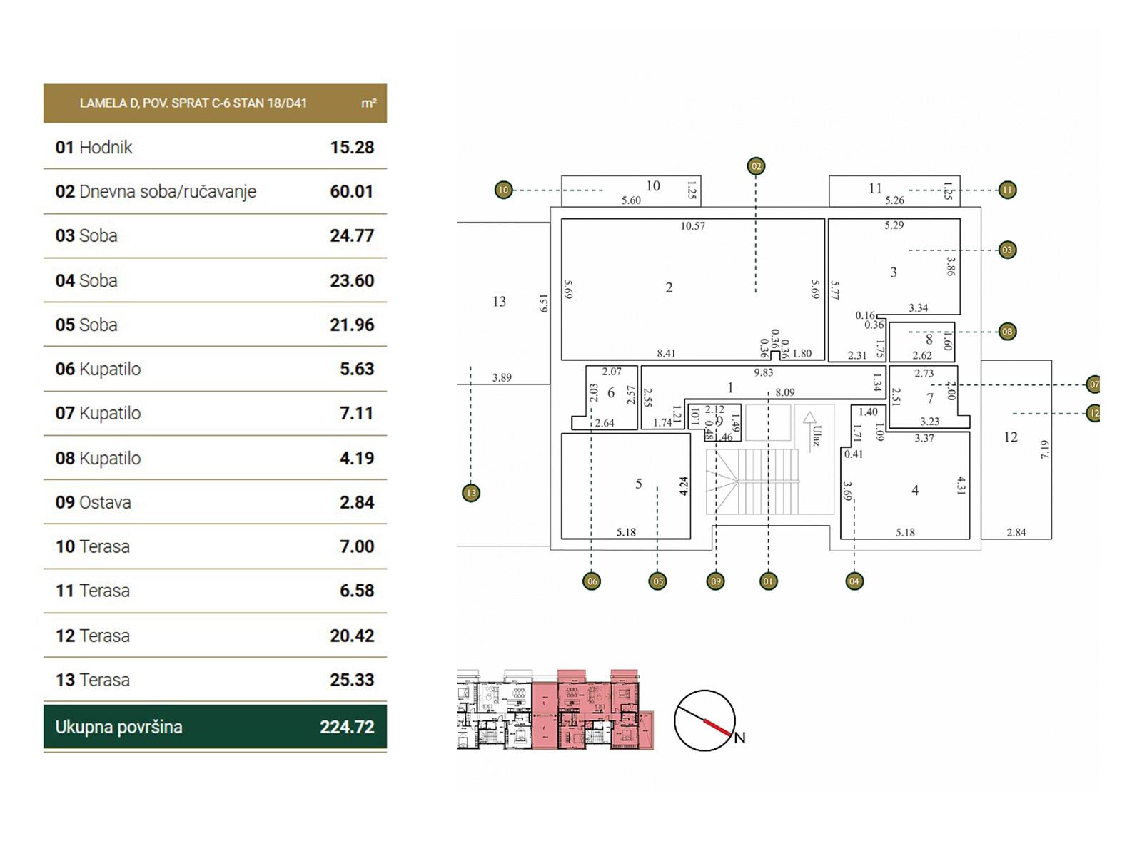 Osnova stana - Povučena etaža D41.