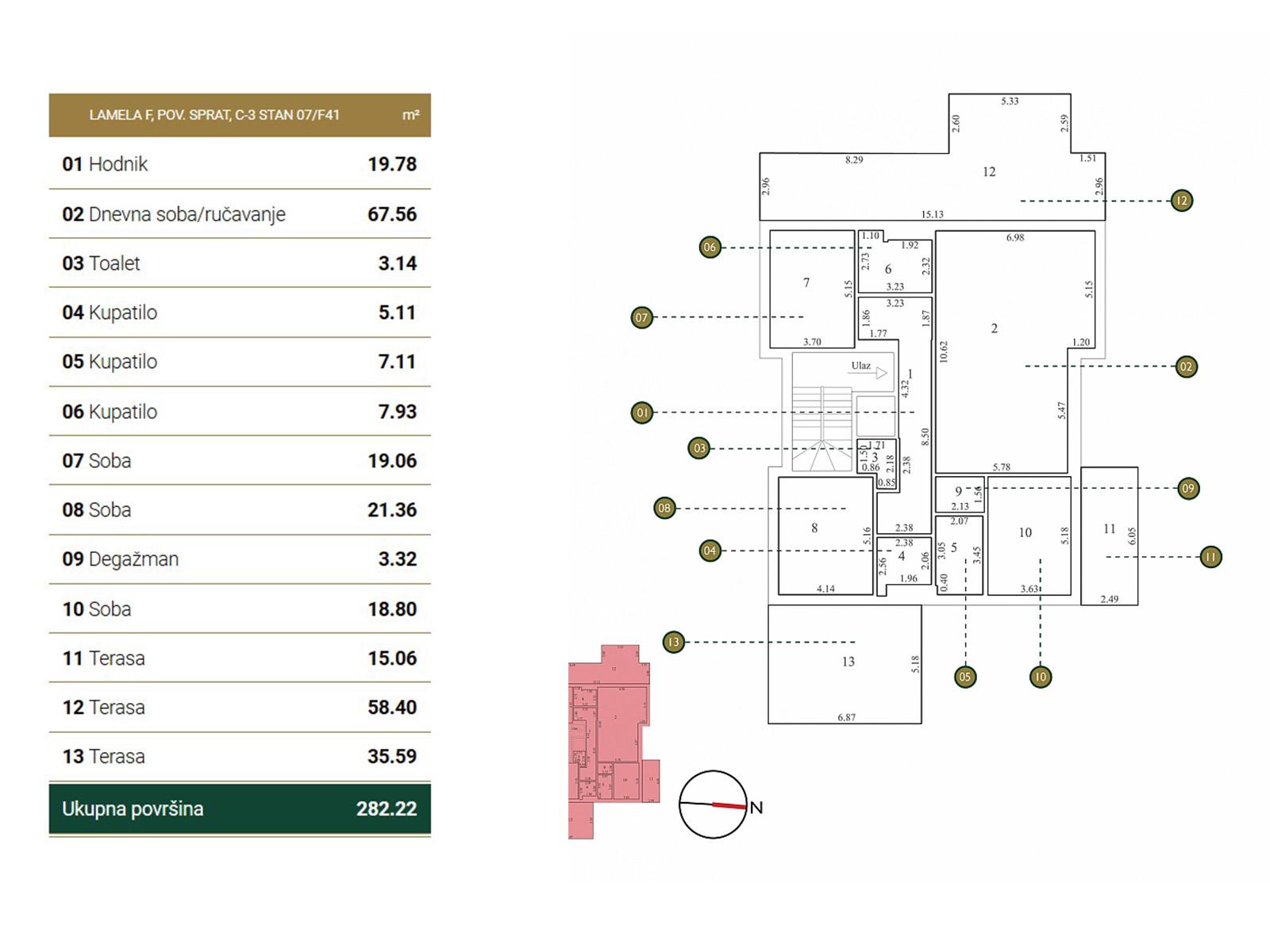 Osnova stana - Povučena etaža F41.