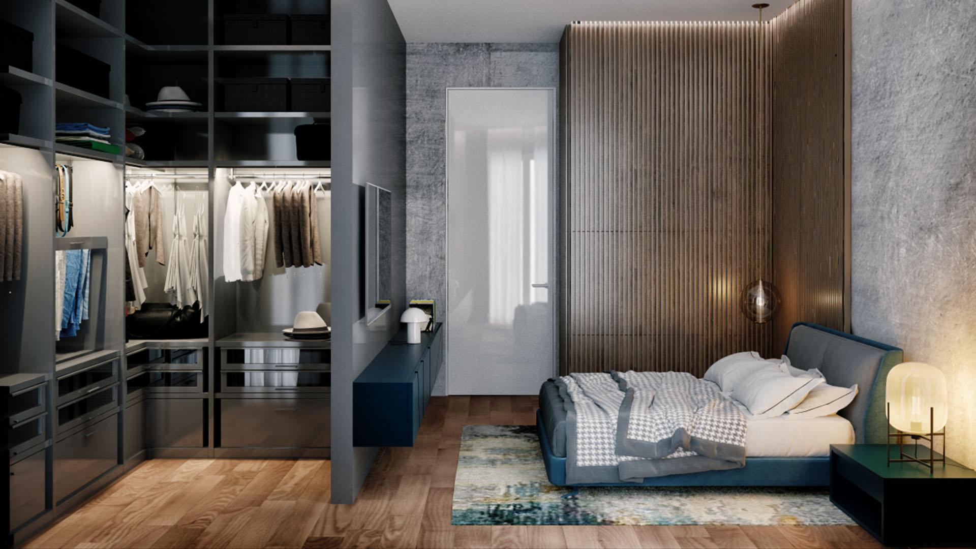 Render enterijera spavaće sobe - luksuzni rezidencijalni kompleks Green Hill Dedinje.