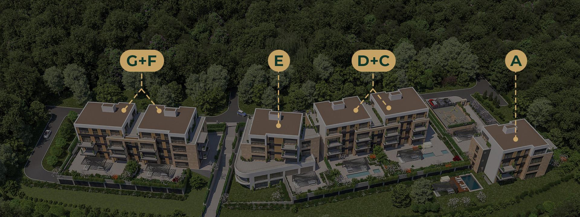 Stambeni kompleks Green Hill se sastoji od 6 lamela.