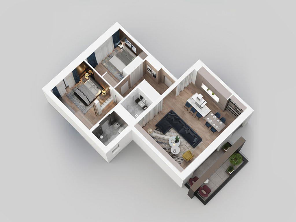 3D view - apartment D22.