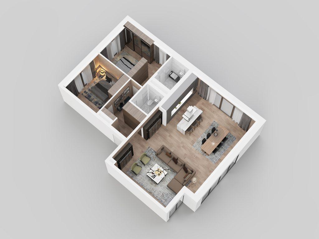 3D view - apartment F11.