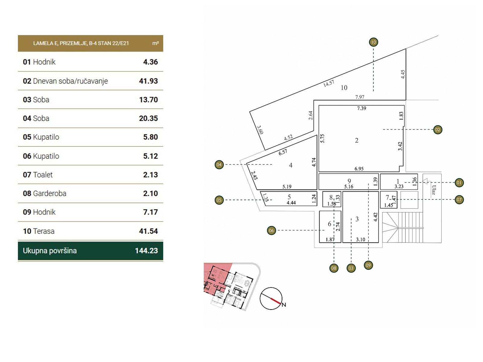 Ground plan - apartment E21.