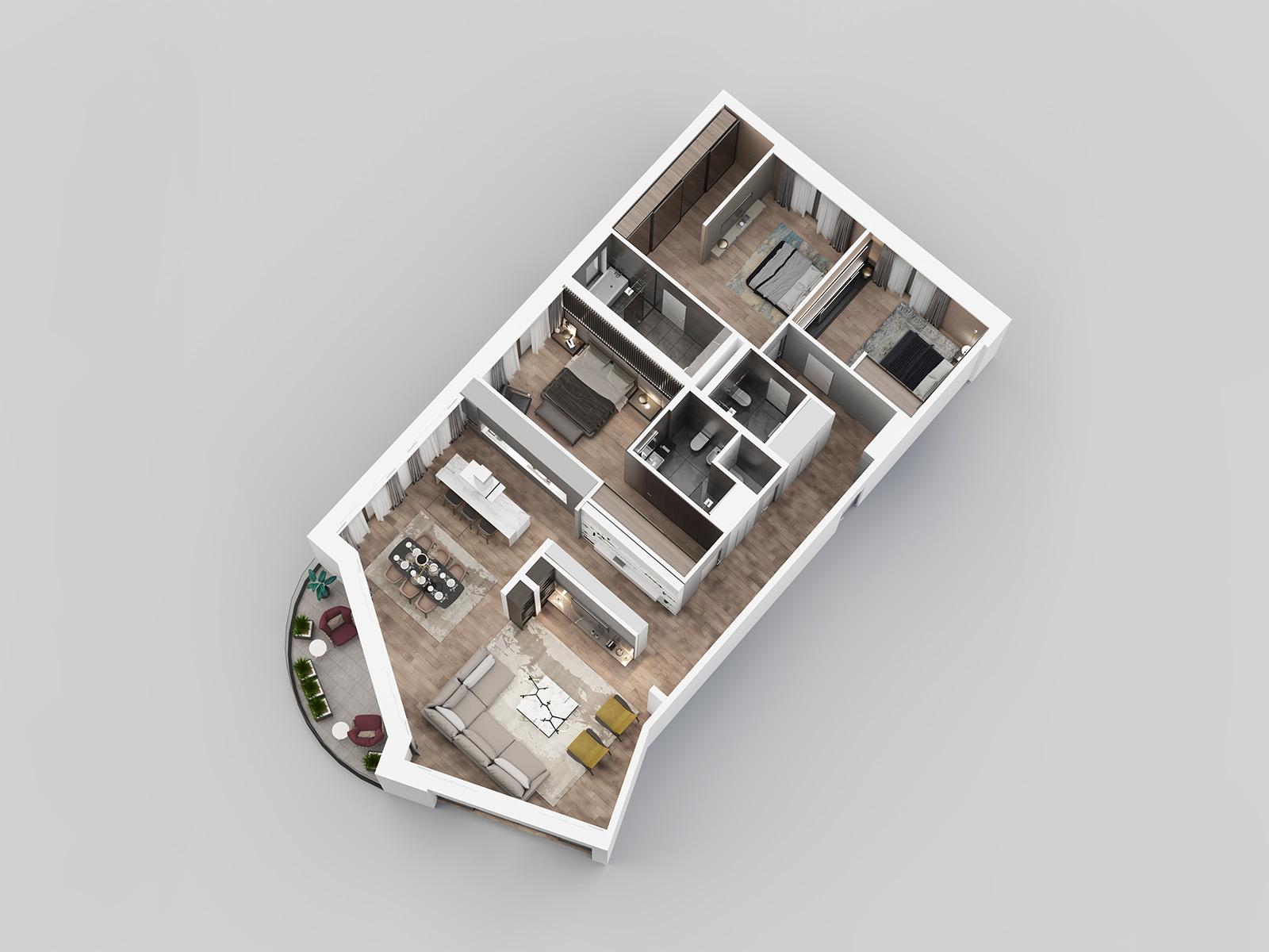 3D view - apartment E12.