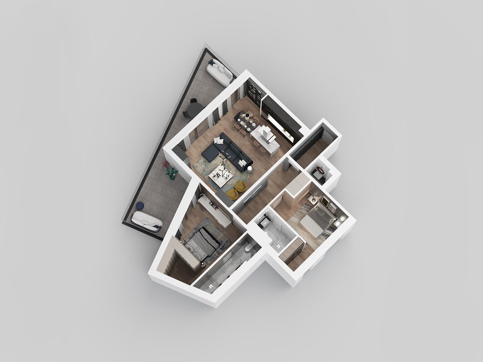 3D view - apartment E21.