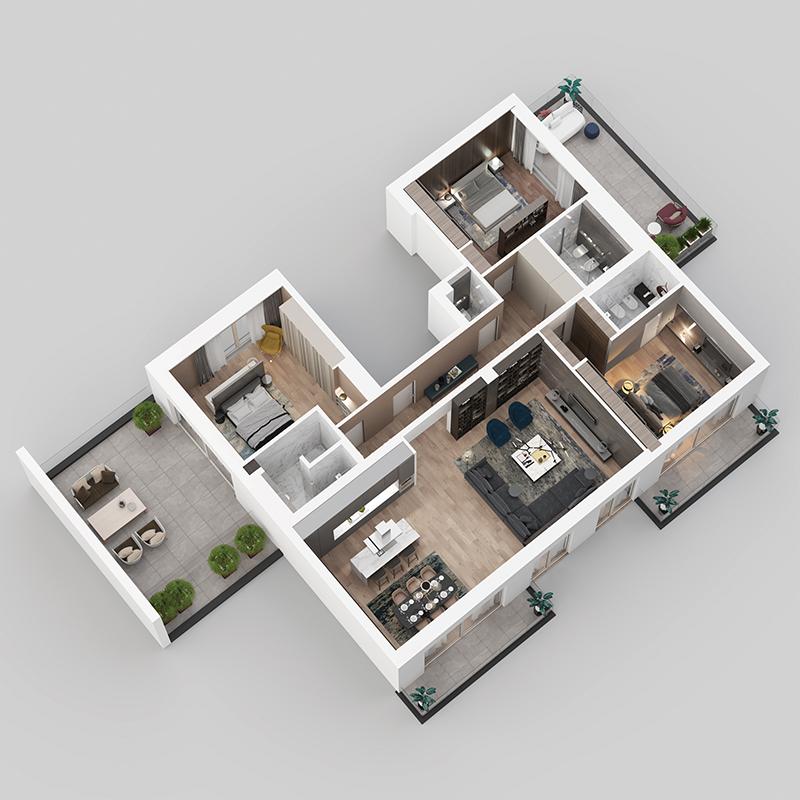 3D view - apartment C41.
